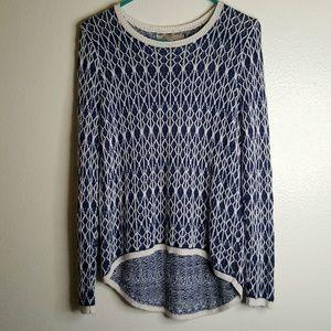 Loft 100% Linen blue & white Sweater M petite